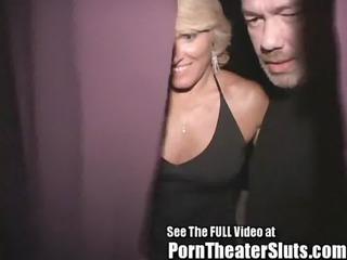 wild lady butt gangbang inside a sex theater