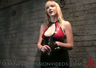 bald pussy blond drilled in bondage