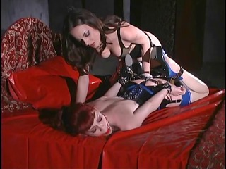 bossy brunette treats redhaired babe enjoy a